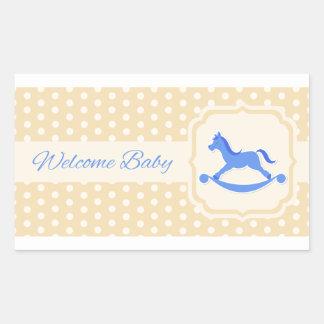 Etiqueta bem-vinda do menino de azuis bebés