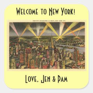 Etiqueta bem-vinda do saco de New York Adesivo Em Forma Quadrada