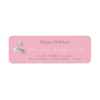 Etiqueta Boas festas prata Deer1 do rosa do rosa do Natal