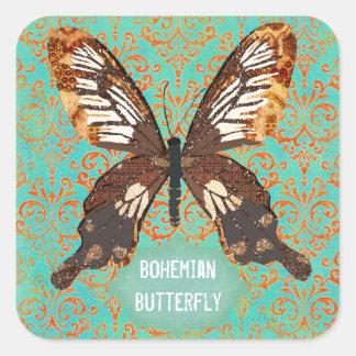 Etiqueta boémia do damasco da borboleta adesivos quadrados