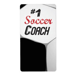 Etiqueta Bola do treinador do futebol #1 grande