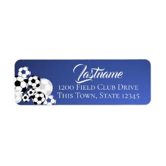 Etiqueta Bolas de futebol azuis e endereço branco