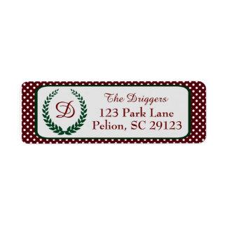 Etiqueta Bolinhas do Natal com monograma da grinalda