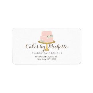 Etiqueta Bolo cor-de-rosa elegante com o bolo floral que