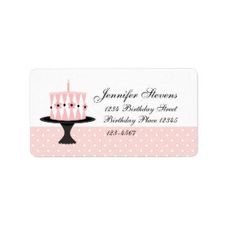 Etiqueta Bolo de aniversário floral cor-de-rosa