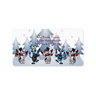 Etiqueta Boneco de neve bonito do Natal e banda da rena