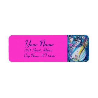 Etiqueta BONECO DE NEVE COM Natal fúcsia cor-de-rosa azul
