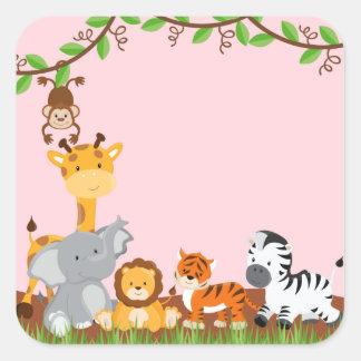 Etiqueta bonito cor-de-rosa do animal do bebê da s adesivo em forma quadrada