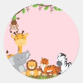 Etiqueta bonito cor-de-rosa do animal do bebê da s adesivo em formato redondo
