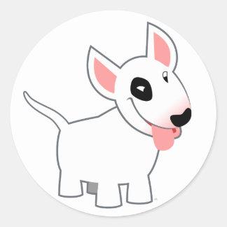 Etiqueta bonito de bull terrier dos desenhos anima adesivo