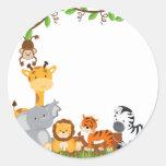 Etiqueta bonito do animal do bebê da selva