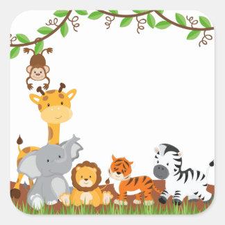 Etiqueta bonito do animal do bebê da selva adesivo quadrado
