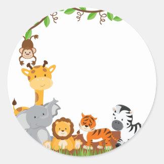 Etiqueta bonito do animal do bebê da selva adesivo em formato redondo