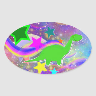 Etiqueta bonito do dinossauro adesivos oval