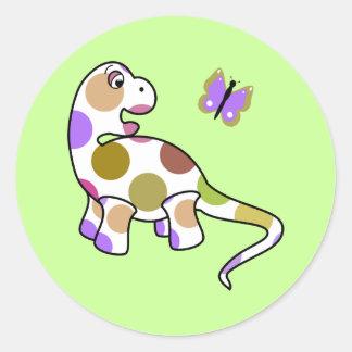 Etiqueta bonito do dinossauro das bolinhas adesivo redondo
