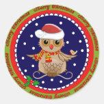 Etiqueta bonito do Feliz Natal com coruja do papai Adesivos Em Formato Redondos