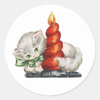 Etiqueta bonito do feriado do gatinho do vintage