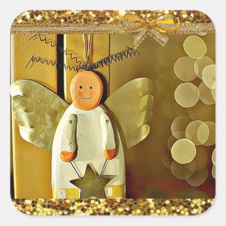 Etiqueta bonito do Natal do anjo do Natal do ouro