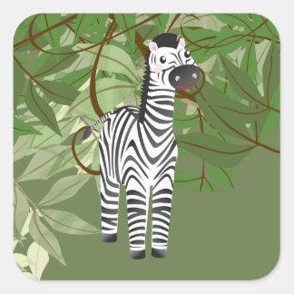 Etiqueta bonito do partido dos animais da selva da adesivo quadrado
