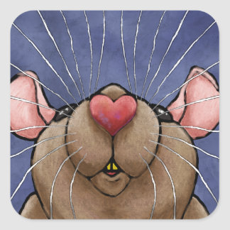 Etiqueta bonito do rato do coração adesivo quadrado