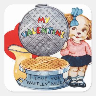 Etiqueta bonito do waffle do feriado dos namorados