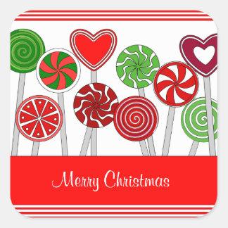 Etiqueta bonito dos pirulitos do Natal Adesivo Quadrado