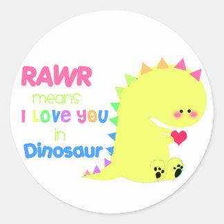 Etiqueta bonito RAWR do dinossauro Adesivos Redondos