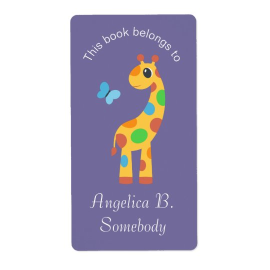 Etiqueta Bookplate colorido do girafa e da borboleta dos