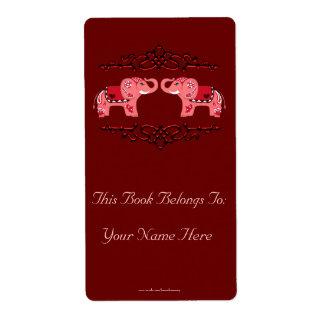 Etiqueta Bookplate do elefante do Henna (vermelho/rosa)