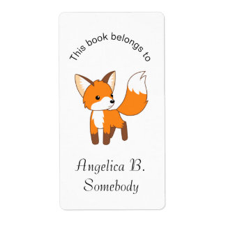 Etiqueta Bookplate pequeno bonito do Fox