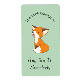 Etiqueta Bookplate pequeno sonolento bonito do Fox