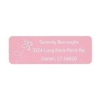 Etiqueta Borboleta cor-de-rosa & branca personalizada