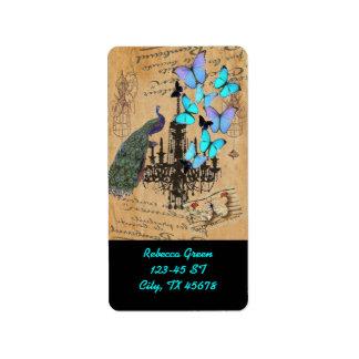 Etiqueta borboleta moderna do azul de pavão do vintage do
