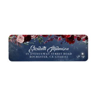 Etiqueta Borgonha e casamento floral dos azuis marinhos