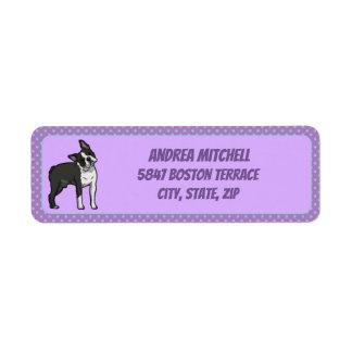 Etiqueta Boston Terrier com luz - a pata roxa imprime