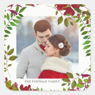 Etiqueta botânica do Natal da foto do feriado