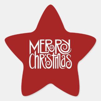 Etiqueta branca da estrela do Feliz Natal Adesito Estrela