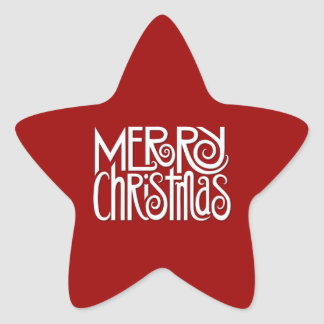 Etiqueta branca da estrela do Feliz Natal Adesivos Em Forma De Estrelas