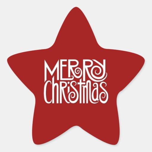 Etiqueta branca da estrela do Feliz Natal Adesivos