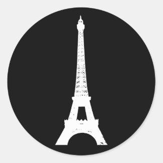 Etiqueta branca da torre Eiffel
