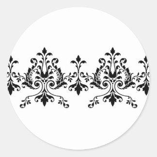 Etiqueta branca e preta do damasco adesivo