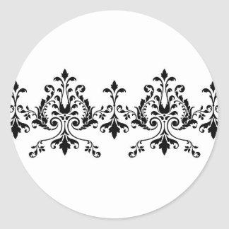 Etiqueta branca e preta do damasco adesivos redondos