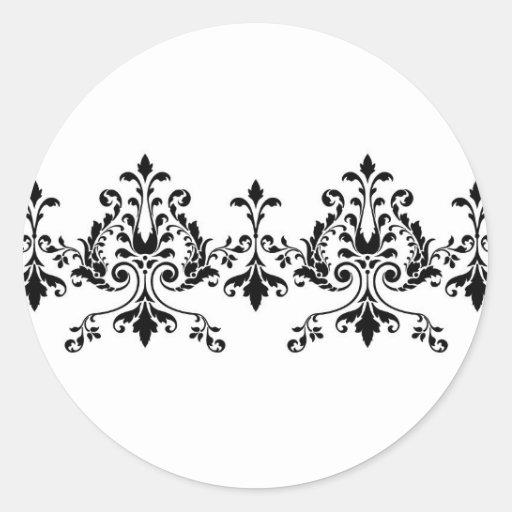 Etiqueta branca e preta do damasco adesivos em formato redondos