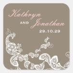 etiqueta branca floral do casamento do pavão do adesivo em forma quadrada