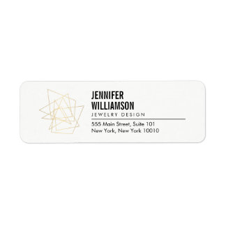 Etiqueta Branco arquitectónico geométrico abstrato/ouro do