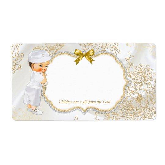 Etiqueta Branco do ouro do baptismo do bebé do vintage