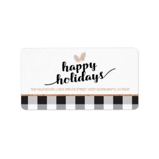 Etiqueta Branco preto dos cones | do pinho do feriado do