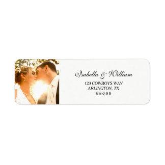 Etiqueta Branco simples com seu casamento da foto