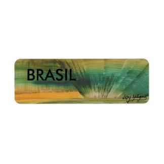 etiqueta brasileira arte moderna em 3D ADESIVOS Etiqueta Endereço De Retorno