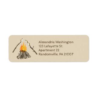 Etiqueta Brindando o endereço do remetente da fogueira dos